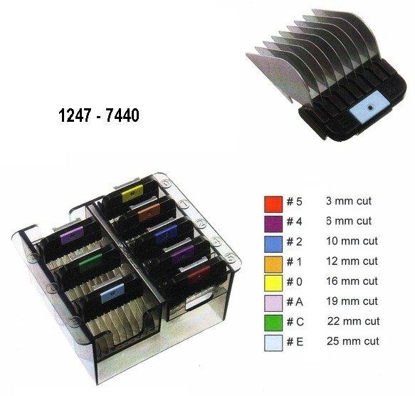 Prídavné kovové hrebene WAHL 1247-7440 - set