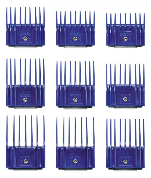 Súprava plastových hrebeňov Andis s kovovou sponou - set I (1,5-14 mm) 2
