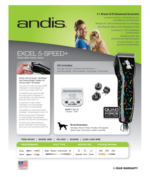 Andis Excel 5-Speed + 4