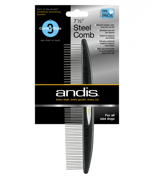 Kovový hrebeň Andis na srsť - jednostranný - 18 cm 1