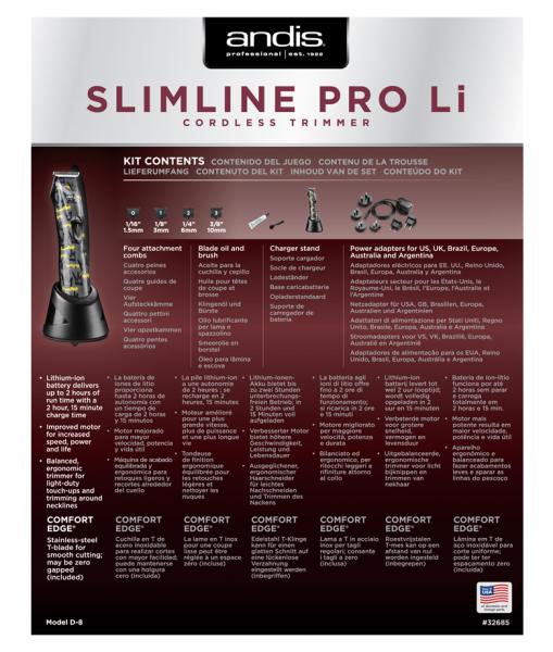 strihací strojček Andis Slimline Pre Li T-Blade 4