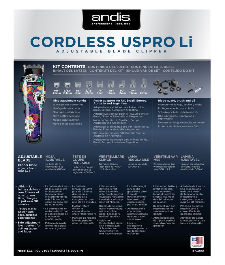 strihací strojček Andis Cordless USPro 73090 4